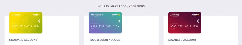 InvestXE Primary Accounts Tiers
