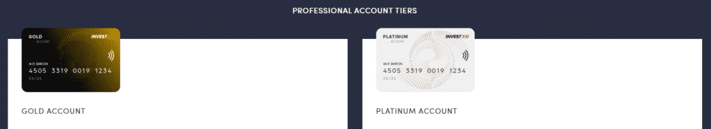 InvestXE Professional Accounts Tiers